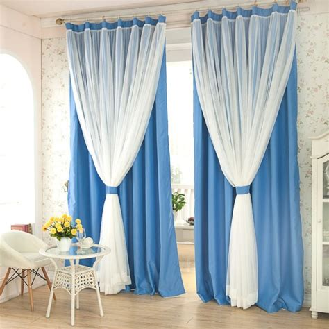 two layer curtain rod decoration window treatment with window drapes and green