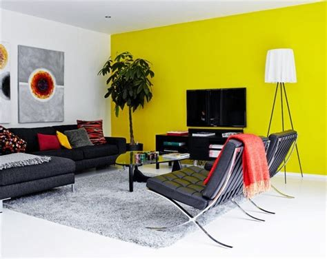 yellow accent wall open living with distinct color views accent walls