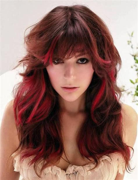 red highlights for long brown hair dark brown hairs