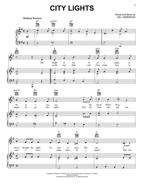 city lights sheet music by bill anderson piano vocal