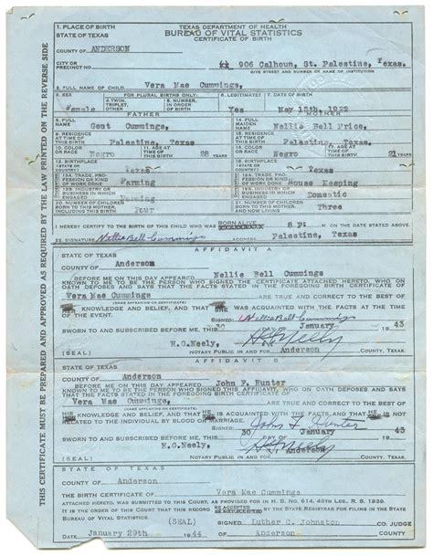 Tx Vital Records Birth Certificates Birth Certificate For Vera Mae The Portal To History