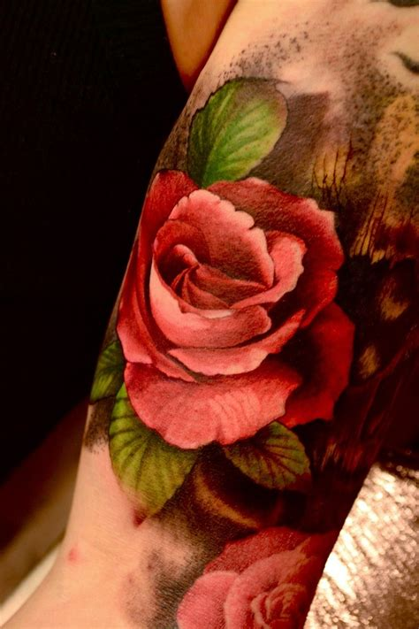 super realistic red rose tattoo on arm tattooimages biz