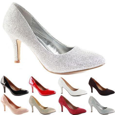 mid high heel shoes womens low mid high kitten heel work casual smart