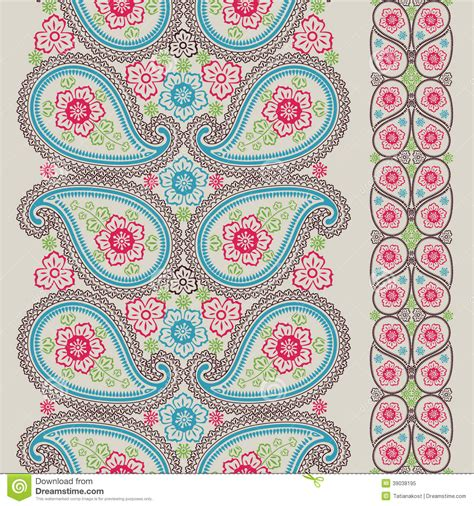 wallpaper background motif paisley fabric seamless border vintage stock vector