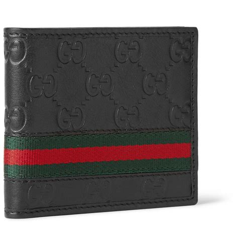 gucci leather wallet gucci embossed leather billfold wallet in black for lyst