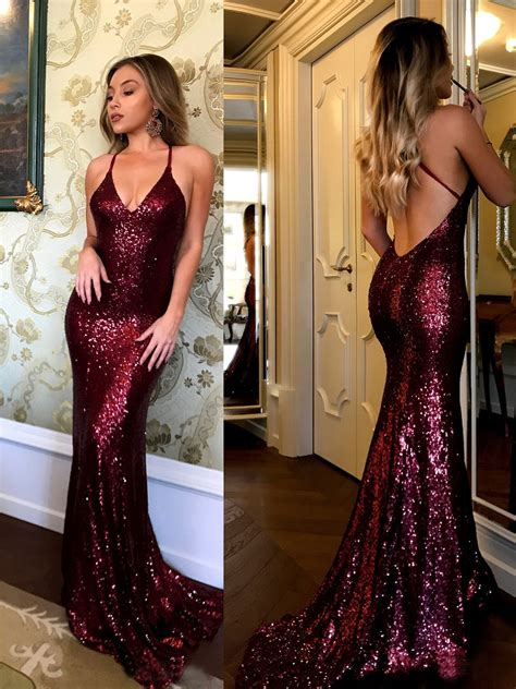 Sequined Prom Dress sequined lace spaghetti evening dress v neck