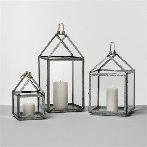 Glass House Lantern Small galvanized house lantern small hearth with
