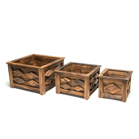 home depot wooden planters devault wooden square planter set of 3 devbp230 the home depot