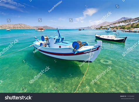 boating license greece fishing boats coast crete greece stock photo 113724493