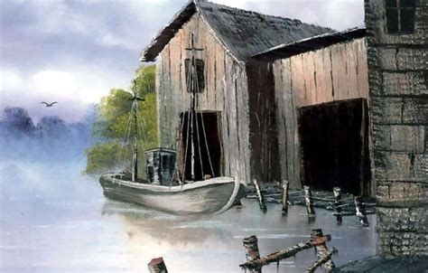 bob ross painting buildings wallpaper picture doc boat the building painting