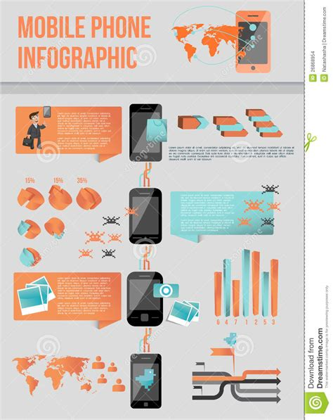 modern mobile phone infographic stock images image 26868954