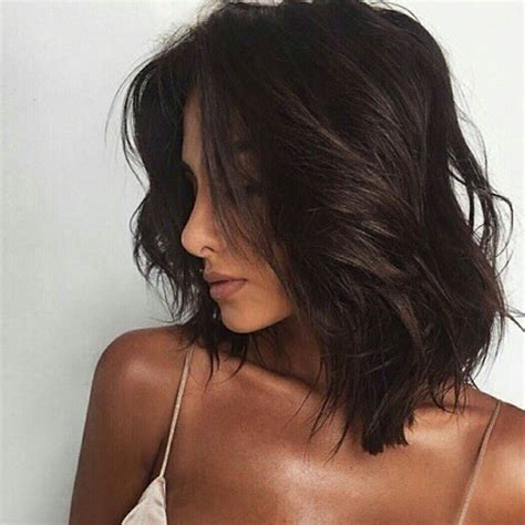 darl hair lob dark hair brunette bob lob long bob messy waves