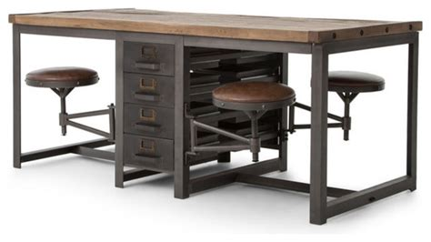 World Market Drafting Table Rupert Industrial Architect Work Table Desk With Attached Seating Reviews Houzz