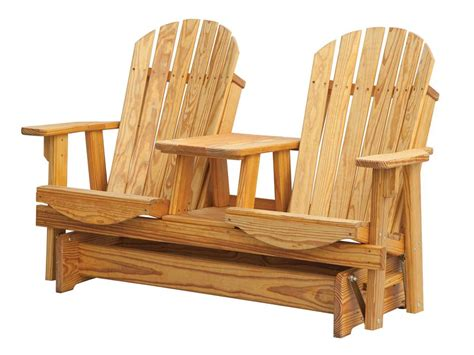 adirondack settee pine adirondack tete a tete glider with connecting table from