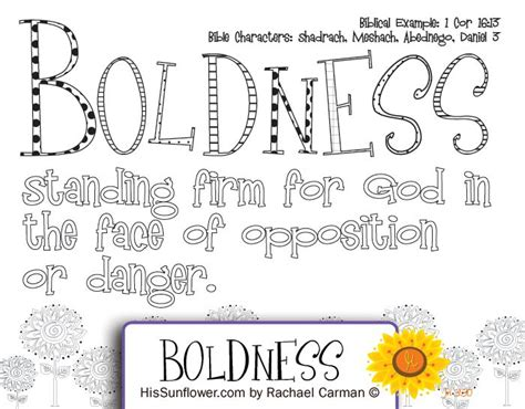 character quality boldness standing firm  god   face  opposition  sunday