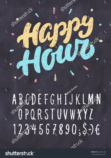 happy hour sign template happy hour chalkboard sign template stock vector 462491188
