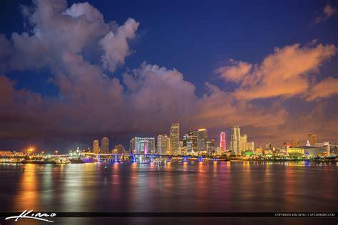 miami city skyline at night miami skyline at night with beautiful clouds
