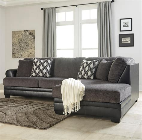 poundex 2 pieces faux leather sectional right chaise benchcraft kumasi 2 piece fabric faux leather sectional