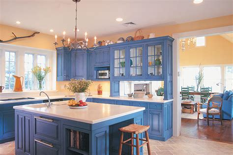 blue kitchen with oak cabinets blue and yellow kitchens white brown oak country