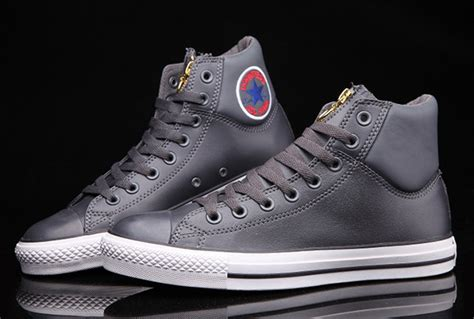 Convers Grey Cover Grey zip converse chuck embroidery padded collar grey