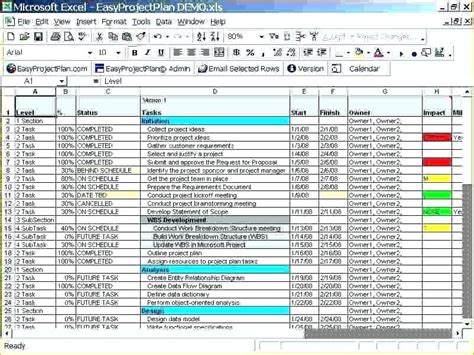 Excel Project Template Program Plan Templates Template Simple Project Plan Template Excel