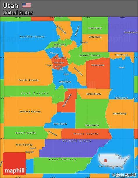 usa states map utah free political simple map of utah