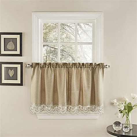 24 Inch Kitchen Curtains Buy Palais 24 Inch Kitchen Window Curtain Tier Pair In Mocha From Bed Bath Beyond