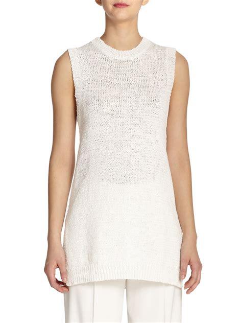 Pastel Blouse Gucci Tunik Knit theory meenaly sleeveless knit tunic in white lyst