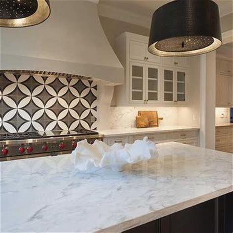 circle backsplash tile kitchen cooktop with black and white cement circle backsplash tiles transitional kitchen
