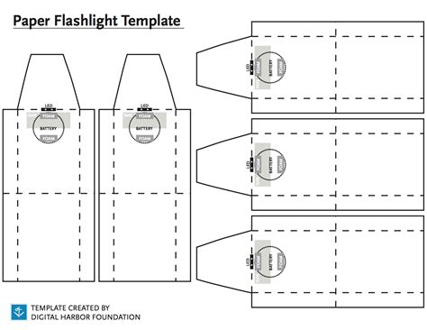 Paper Flashlight Template Blueprint By Digital Harbor Foundation Paper Water Template