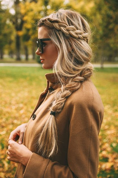 messy curly fishtail braids long hairstyles