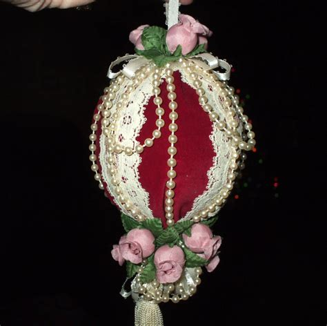 handmade vintage christmas ornament victorian pink roses lace