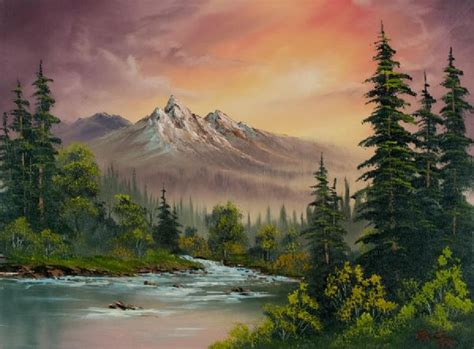 can you buy bob ross paintings bob ross mountain sunset painting at paintingforsale me