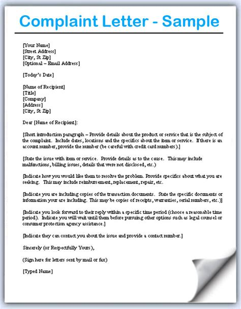 Complaint Letter About The Product Complaint Letter Sles Writing Professional Letters