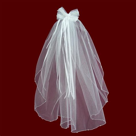 beaded veil organza hairbow detachable veil with beaded edge