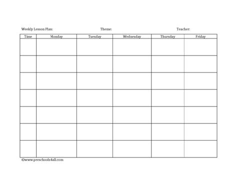 printable lesson plans kindergarten blank printable lesson plans form best agenda templates