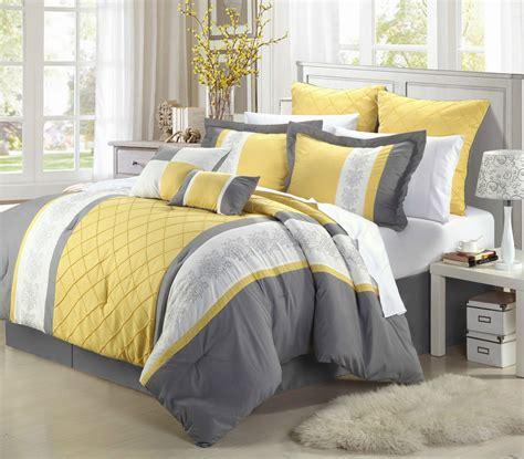 Grey And Yellow Bed Sets Livingston Yellow And Grey Comforter Bed In A Bag With Sheet Set Ebay