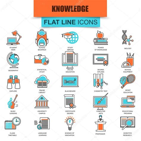 Thin Line Set Of 2 Set Of Thin Line Icons Distance School Education And Study Modern Mono Flat