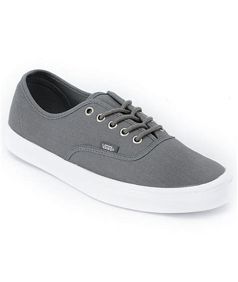 Vans Authentic Grey White vans authentic lite grey white skate shoes mens at zumiez pdp