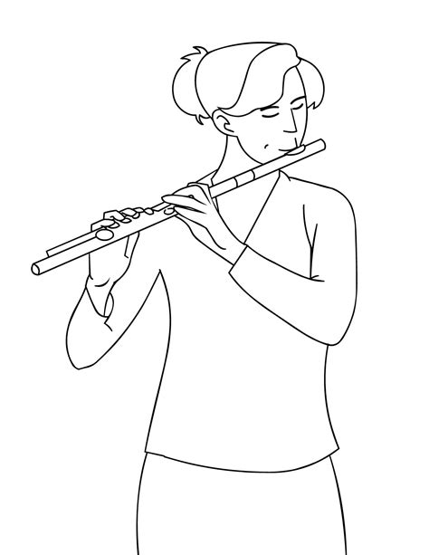 6 images of playing flute coloring page flute musical