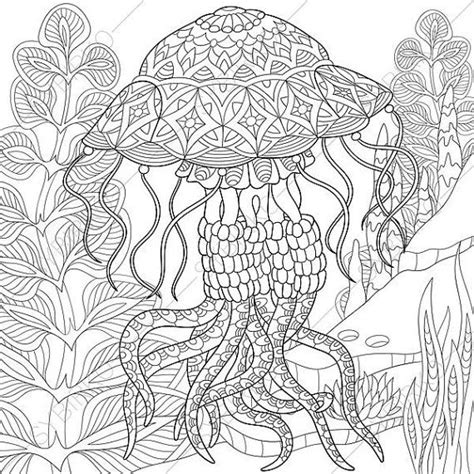 free adult coloring pages jellyfish zentangle doodle