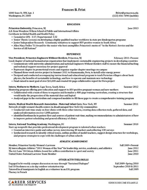 Resume Model by Academic Resume Model Free Sles Exles Format