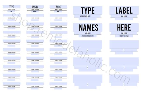 custom fillable spice labels  pantry labels modern