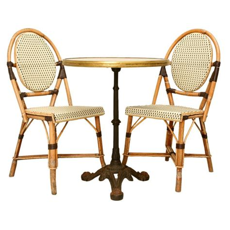 bistro armchair c 1950 french bistro table paired w bamboo chairs