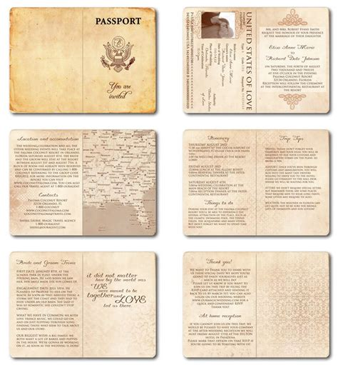 passport invitation template free wedding invitation passport printable template vintage