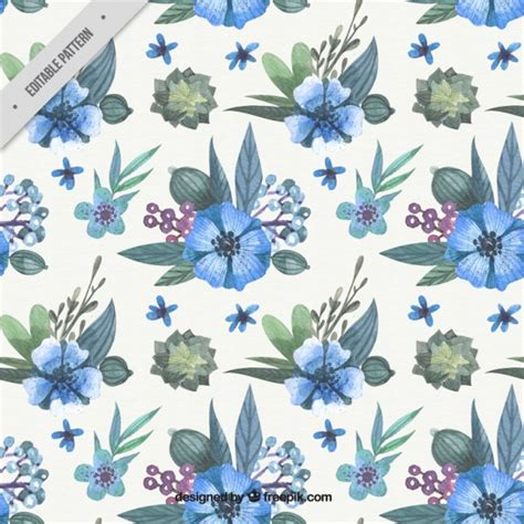 watercolor flowers pattern vector free download watercolor pattern with blue flowers vector free download