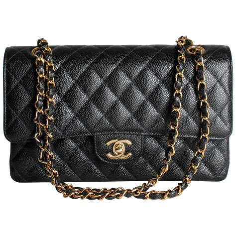chanel  caviar medium classic double flap bag black