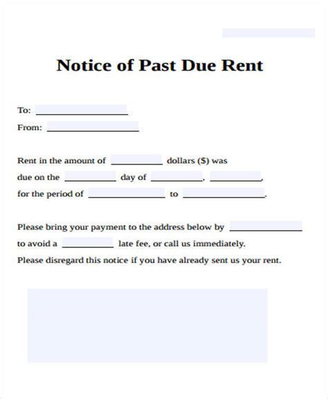 Letter For Rent Past Due Late Rental Notice Giving Your Tenant An Eviction Notice