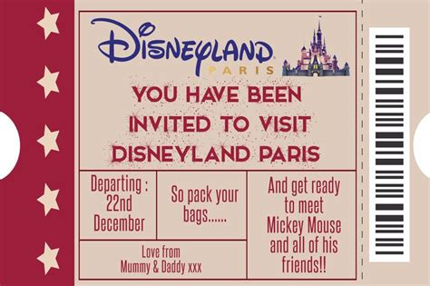 Buy Disney Tickets With Disney Gift Card - personalised disney ticket style disneyland paris invites inc envelopes a5 ebay