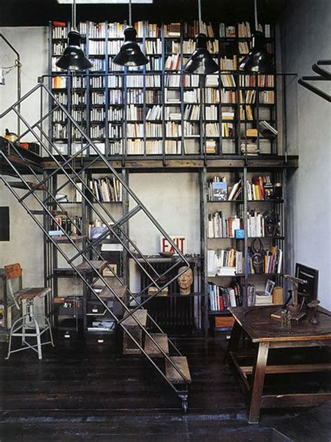 home interior books home library industrial style panda s house